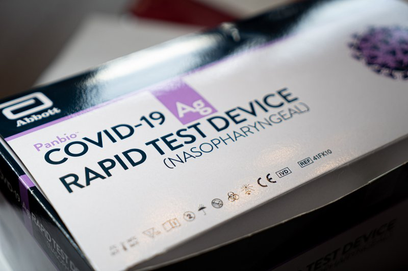 A box of Covid-19 rapid test devices. Those are used to determine if someone is infected.
